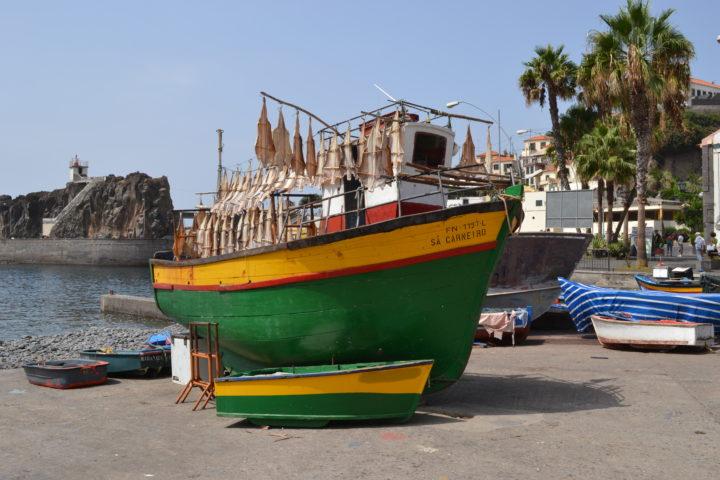 Boot mit Stockfisch im Hafen des Fischerortes Câmara de Lobos