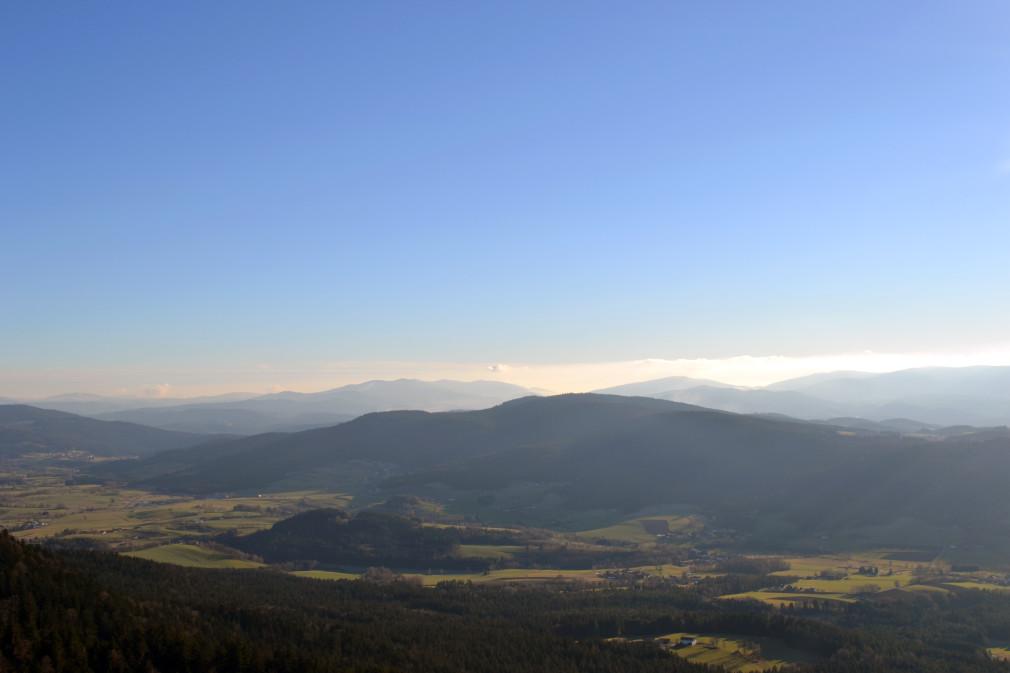 Ausblick vom Kamm des Kaitersberges auf das Zellertal