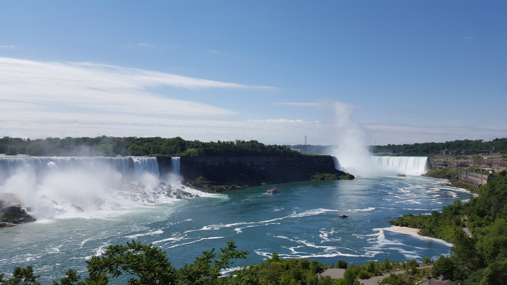 Die amerikanischen (links) und kanadischen (rechts) Niagarafälle