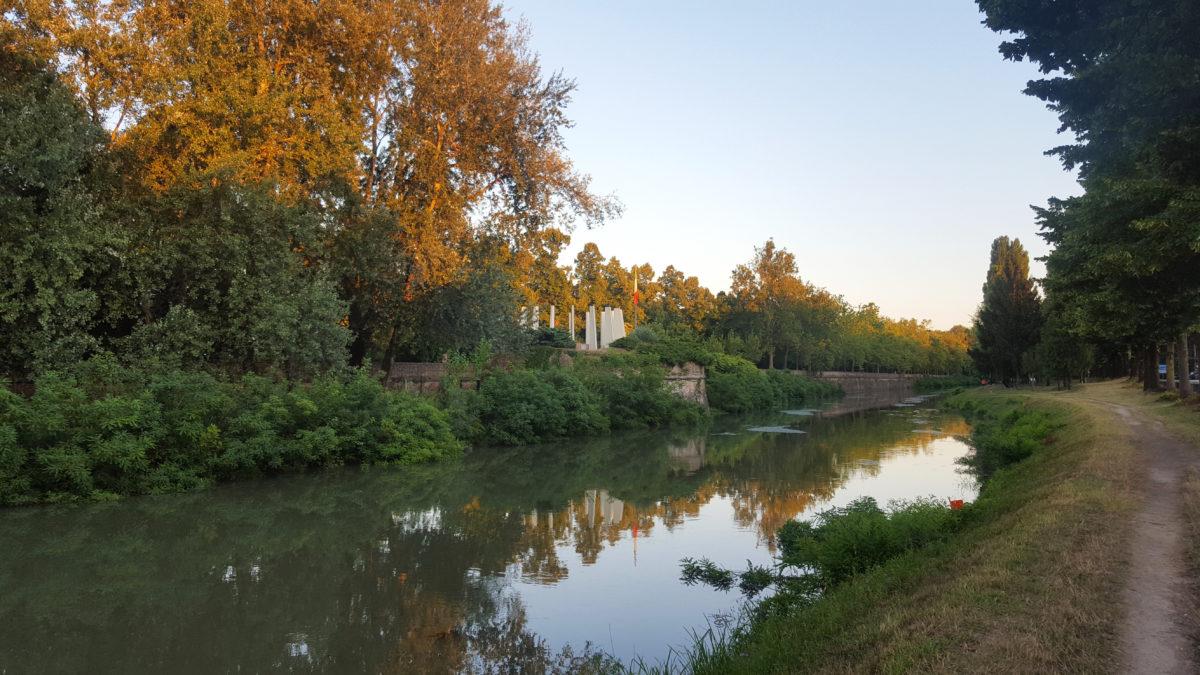 Entlang des Fluss-/Kanalufers im Parco dei Cigni, Padua