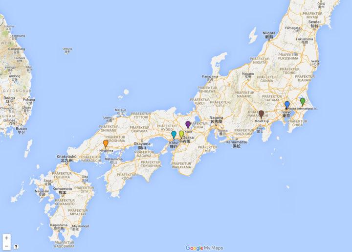 Japankarte Screenshot Google Maps